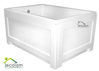 Badewanne Wanne Rechteck Acryl 100 x 70 cm ohne/mit Schürze Ablauf Silikon