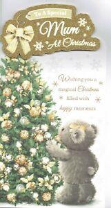 Special MUM CHRISTMAS CARD  -  Quality Card Cute Bear and Tree Design