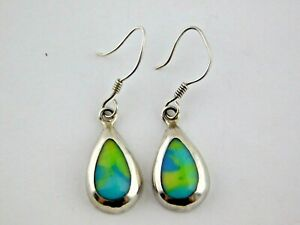 Vintage-Taxco-Mexico-Blue-Green-Swirl-Cabochon-Sterling-Silver-Drop-Earrings-925