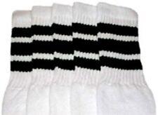 "22"" KNEE HIGH WHITE tube socks with BLACK stripes style 1 (22-1)"