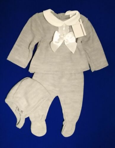Newborn Baby Boys Spanish Knitted Outfit Bow Jumper Trousers Bonnet 3 Piece Set