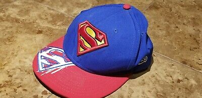 Superman Man of Steel Blue DC Comics Felt Snapback Hat Cap Lid Flat Bill Brim OS
