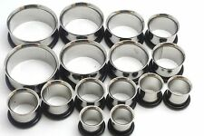 5 Pairs Stainless Steel Tunnels Plugs Ear Stretch Gauges 9/16 5/8 3/4 7/8 1 inch