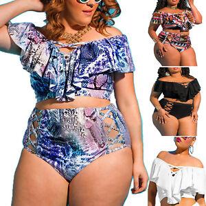 732cf09923d Women s Plus Size Bikini Set Off Shoulder Ruffles High Waist Padded ...