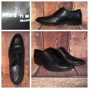 Cole-Haan-Mens-Dress-Shoes-Classic-Black-Leather-Cap-Toe-Lace-Up-Oxford-Sz-11-M