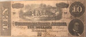 1864-10-DOLLAR-BILL-CONFEDERATE-STATES-CURRENCY-CIVIL-WAR-NOTE-OLD-PAPER-MONEY
