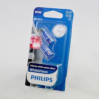PHILIPS 12961Nbvb2 WHITE VISION ULTIMATE EFFECT W5W LIGHT BULBS PAIR 4300K