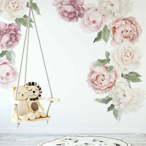 Set of 9 Pcs Large Individual Peony Rose Flower Wall Sticker Baby Nursery Decor