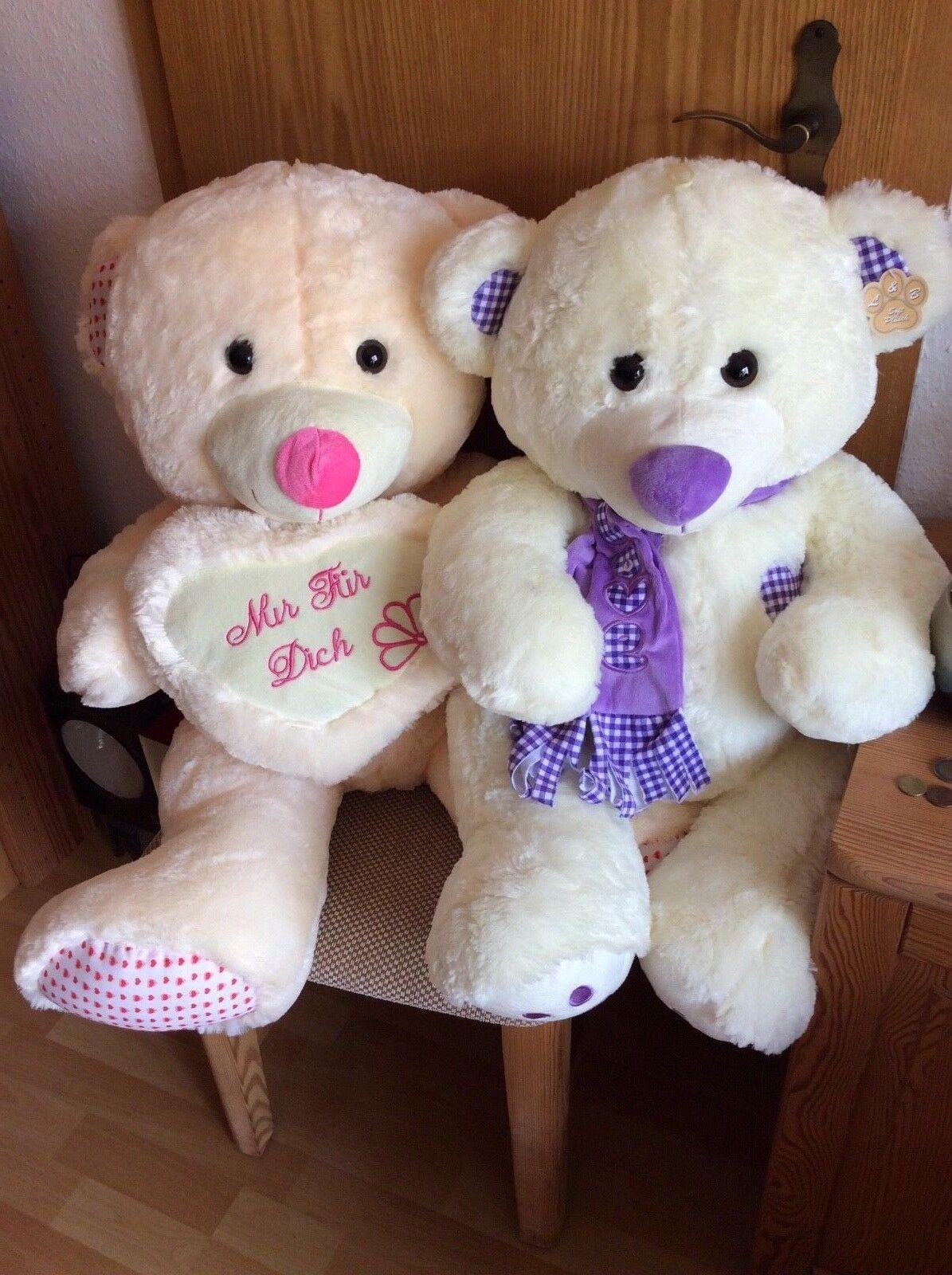 2 x XXL  großer Bär Teddy Neu Teddybär Kuscheltier Stofftier im Set Beige Plüsch