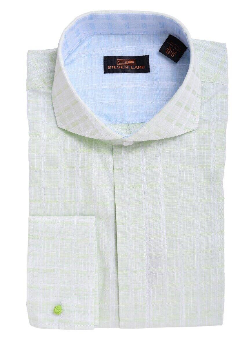 Steven Land Klassisch für Grün Texturiert Umschlagmanschette Baumwollkleid Hemd