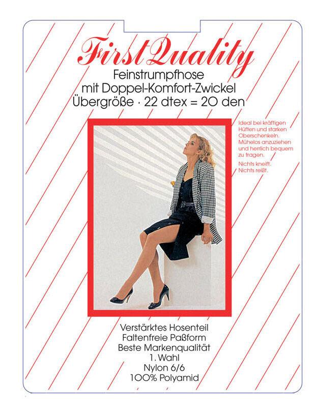 First Quality 3-er Pack Damen Feinstrumpfhose 20 den Übergröße 42-56 NEU