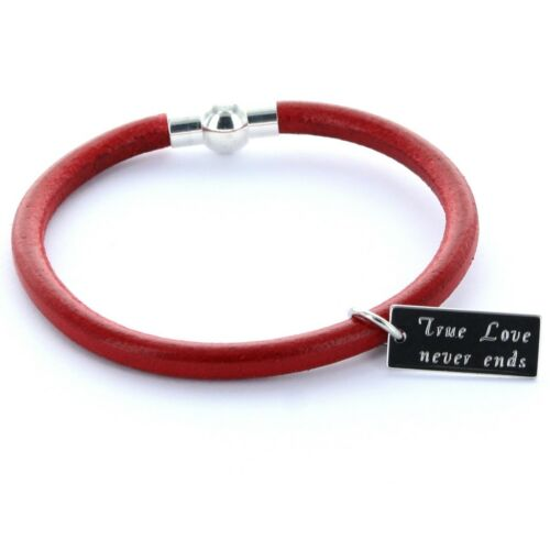 Lieblingsmensch® Armband Edelstahlanhänger Magnetverschluss Gravur Rot