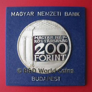 1977-HUNGARY-200-FORINT-SILVER-PROOF-NATIONAL-MUSEUM-BUDAPEST-CONDOR-BIRD-BOX