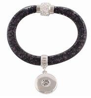 Black Bracelet Rhinestone Magnetic 20mm Snap Interchangeable For Ginger Snaps