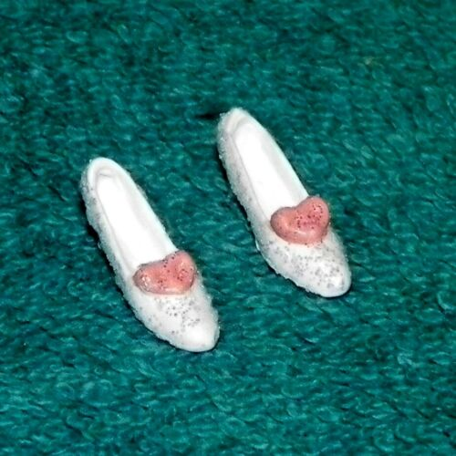 Ladies White Fancy Shoes w//Pink Ribbon Dollhouse Miniatures