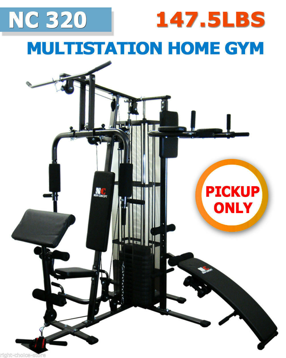 147 LBS NEW MULTI STATION HOME GYM FITNESS EQUIPMENT Bench