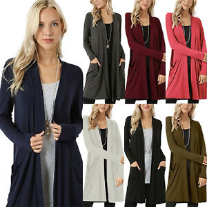 Women-Ladies-Plain-Long-Sleeve-Waterfall-Cardigan-Trench-Long-Coat-Duster-Jacket