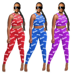 NEW Women/'s Stylish Sleeveless Letter Print O Neck Bodycon Sporty Jumpsuit 2pcs