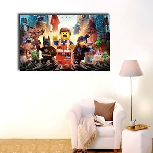 Lego-Movie-Stretched-Canvas-Prints-Framed-Painting-Wall-Art-Kids-Nursery-Decor