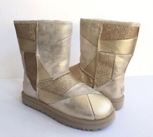 4abfbdacef6 Details about UGG CLASSIC SHORT GLITTER PATCHWORK GOLD SHEARLING BOOT US 9  / EU 40 / UK 7