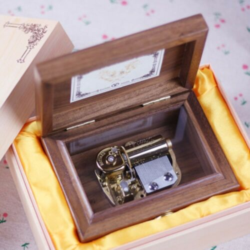 ONCE UPON A DECEMBER 30 NOTE WALNUT WOODEN WIND UP MUSIC BOX