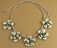 Flower Necklace, Solid Fine Silver. 5 Roses. Sterling Silver 925.