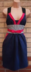 KATE-FEARNLEY-NAVY-BLUE-STRIPED-BOW-PINK-BLOCK-TULIP-WEDDING-PARTY-DRESS-10-12