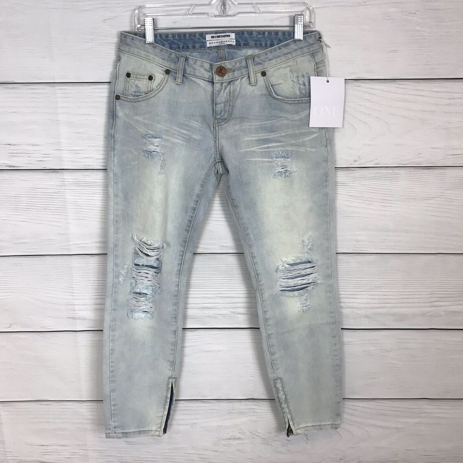 New One Teaspoon Aspen Freebirds Jeans Cropped Distressed Light Wash Sz 27