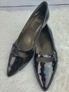 Stuart-Weitzman-Women-s-Leapord-Patent-Leather-Flats-Pointed-Toe-Size-7-5M-EUC