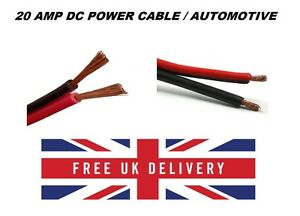 Automotive DC Power Twin Core Cable 20A amp 12V Black/Red DC Power ...