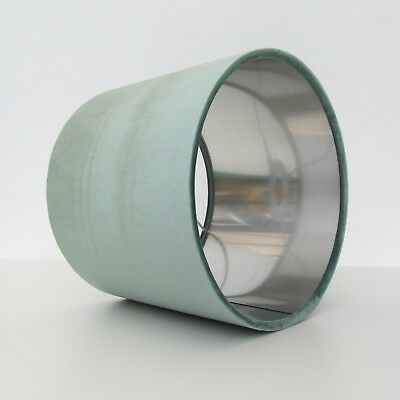 Lampshade Mint Green Light Velvet Brushed Silver Lightshade Metallic