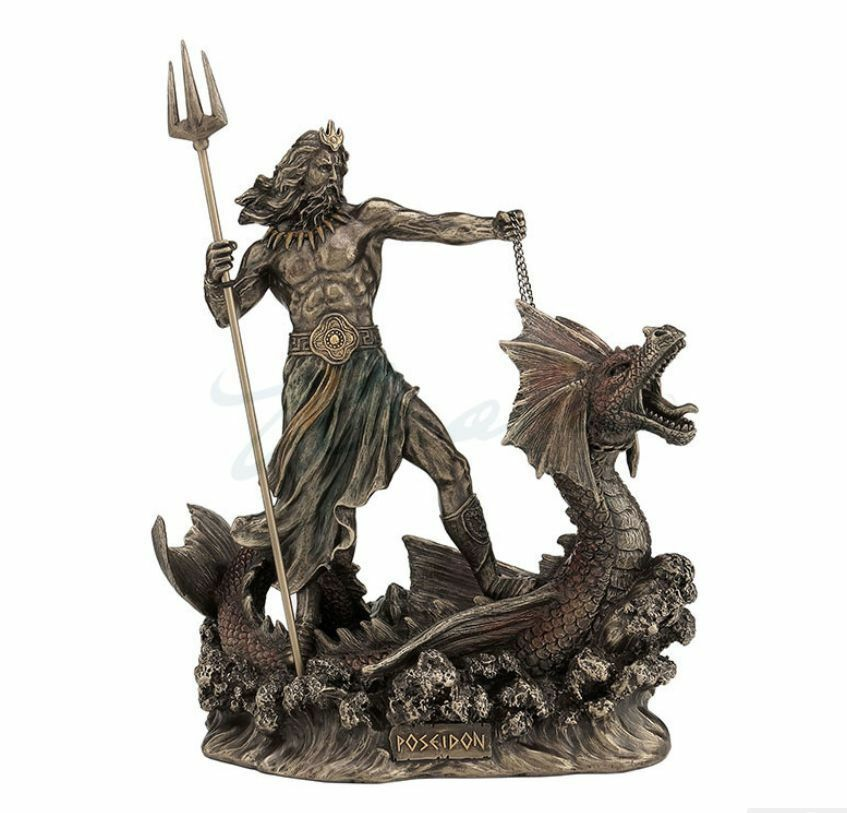 Poseidon Greek God of the Sea on Hippocampus Statue Sculpture Figurine Mythology
