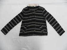 Roxy Women Sweater Jacket Small Sherpa Fallen For You Black Stripes