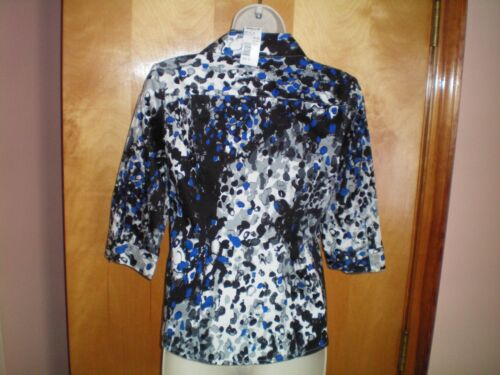 NWT womens size PXS black blue lime green teal 212 COLLECTION fitted shirt $36
