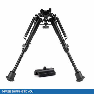 Adjustable 6''-9'' Universal Rifle Bipod w/Swivel Stud Mount& Rail Mount Adapter