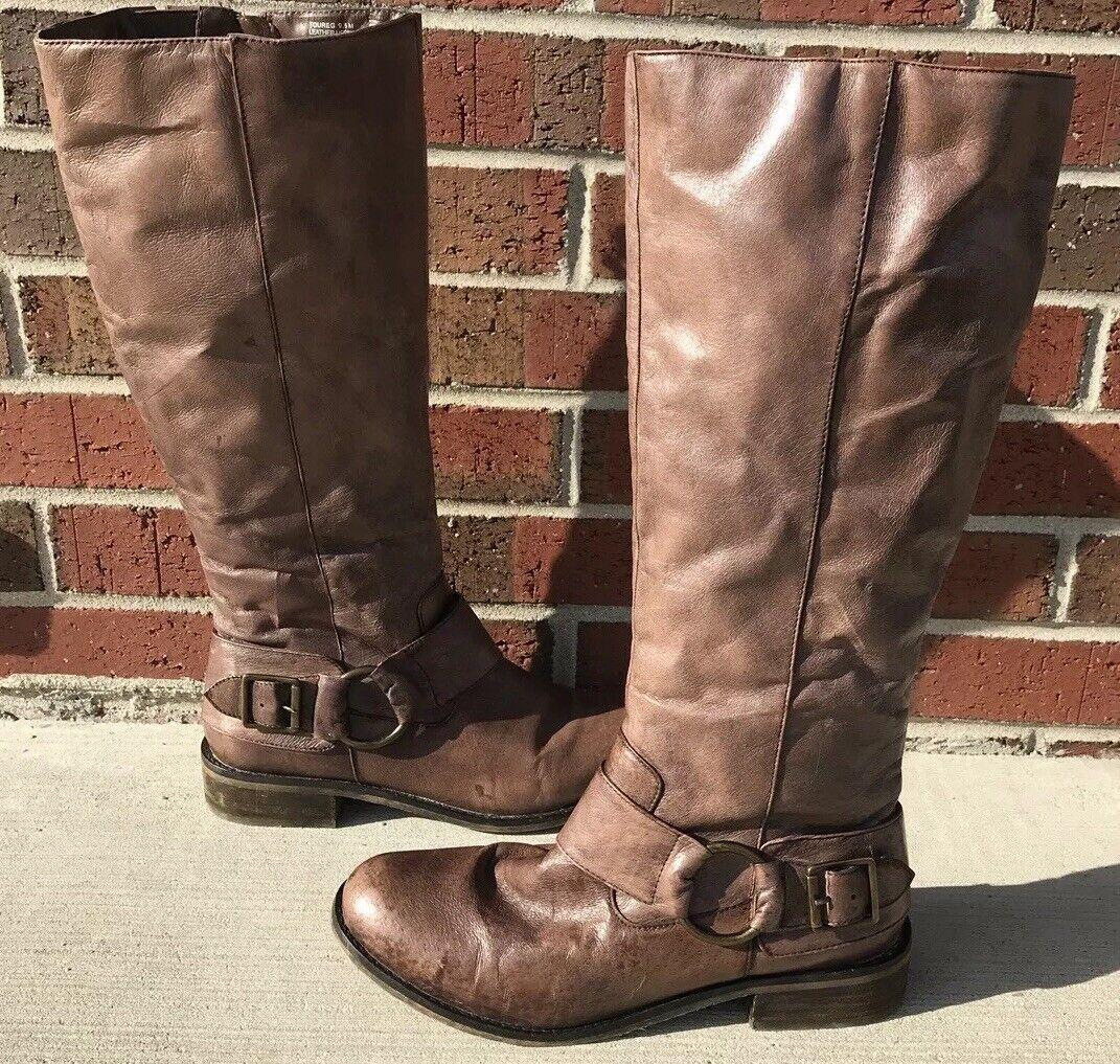 Steve Madden 9.5 M Toureg Leather Buckle Detail Brown Riding Boots