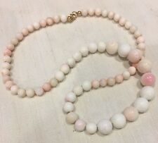 * ANTIQUE VINTAGE BLUSH PINK WHITE ANGEL SKIN CORAL CONCH SHELL BEAD NECKLACE