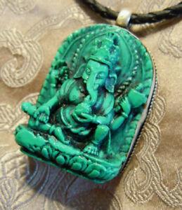 Schönes BUDDHA AMULETT Ganesha TÜRKIS aus Nepal