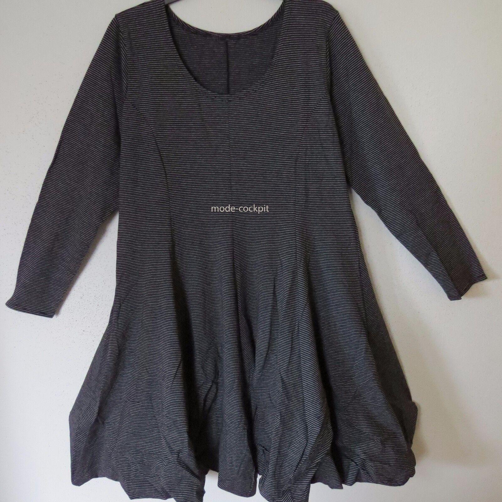 BORIS INDUSTRIES cooles Ballon Kleid Lagenlook Baumwolle Streifen 48 (5)