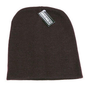 629aaafa191 Brown Skull Cap Plain Beanie Knitted Ski Hat Skully Warm Winter ...