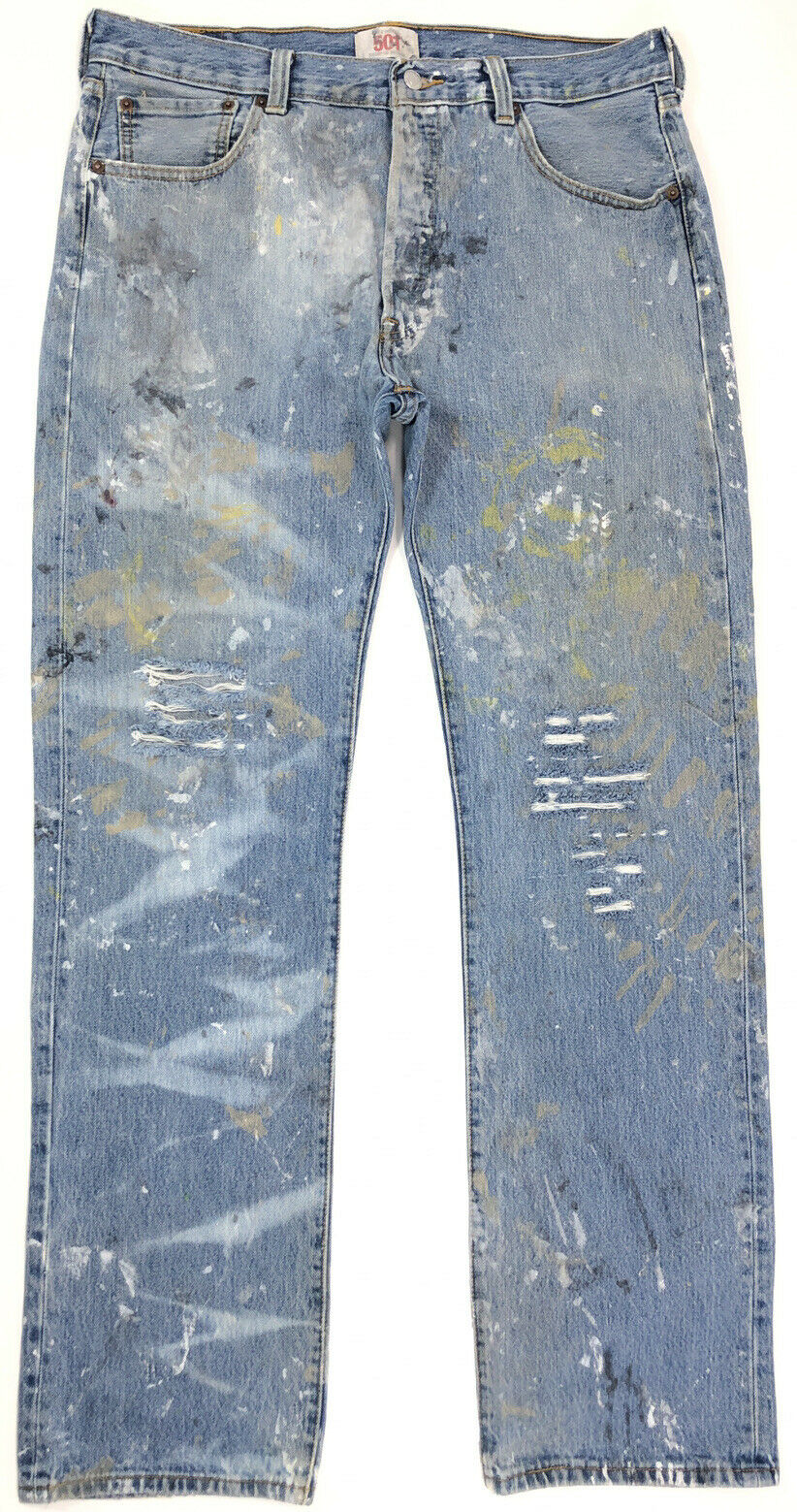 vtg 90s LEVI'S 501 Faded Work Worn Button Fly Jea… - image 2