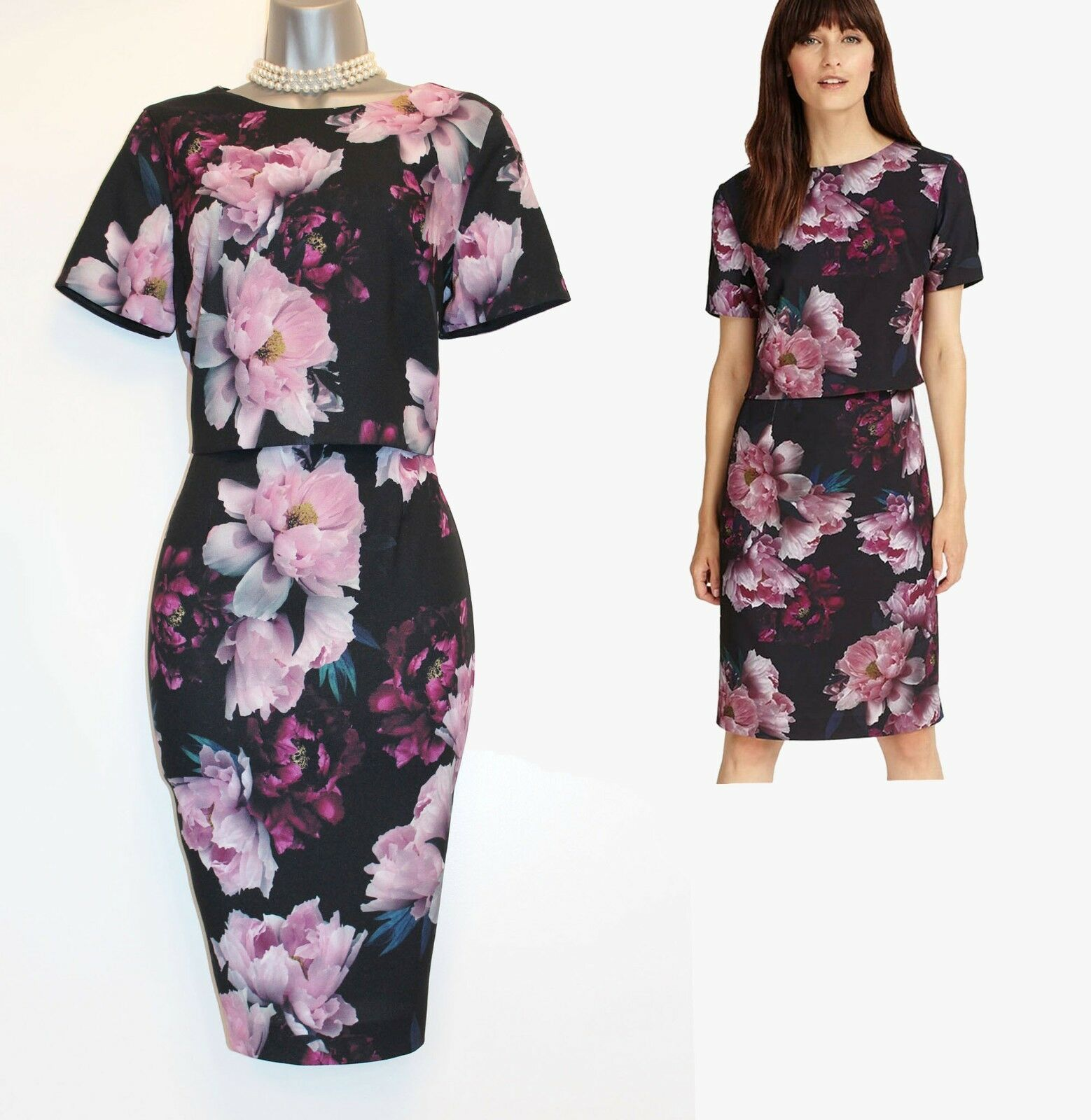 Phase Eight Multi Coloured Kaylor Floral Layer Detail Formal Dress