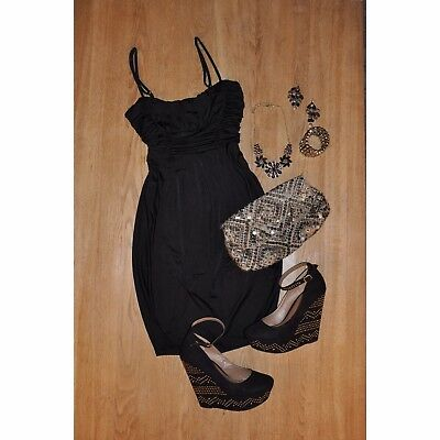 3a31be4397a5a Details about Dorothy Perkins Little Black Dress Size 10 Party Evening  Drape Going Out Balloon