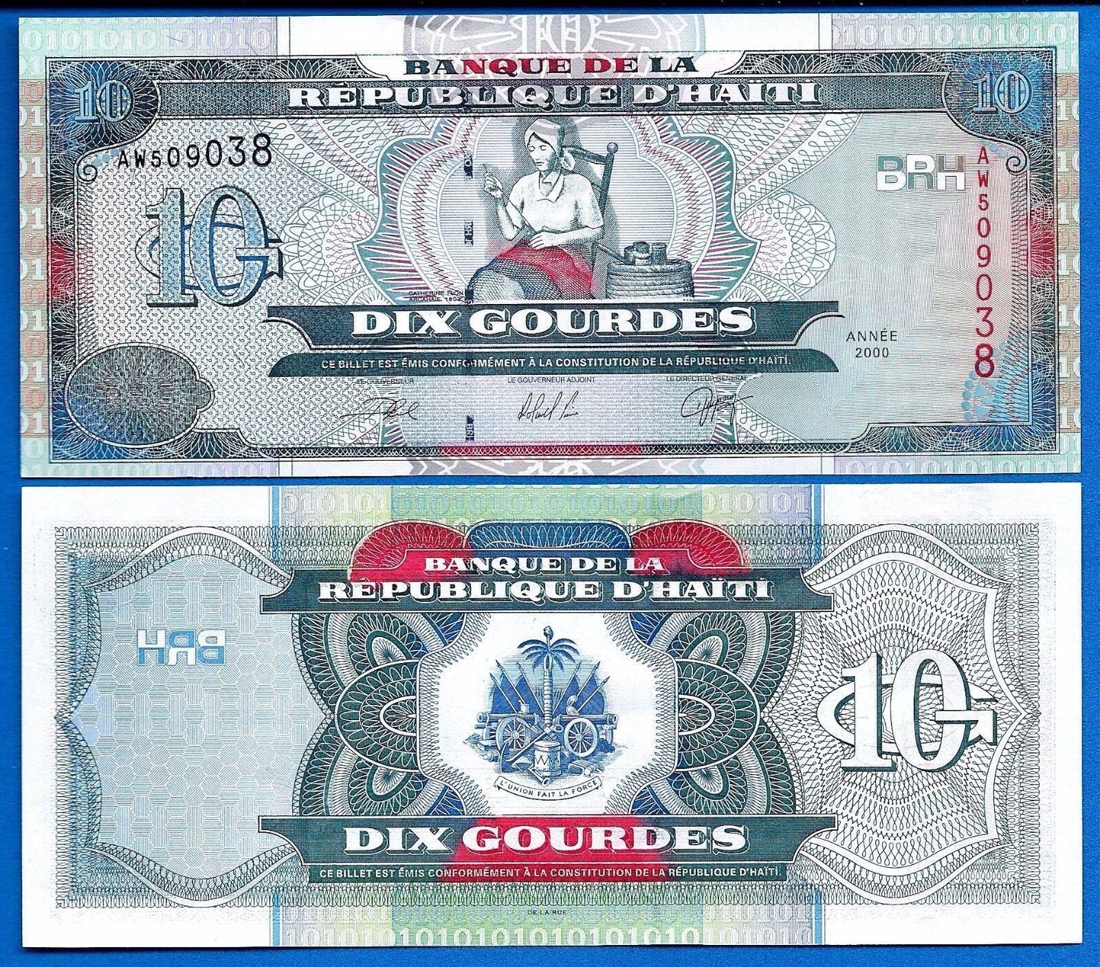 Haiti P-265 10 Gourdes Year 2000 Uncirculated Banknote South America