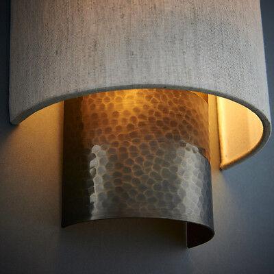 Endon Domina 1lt wall light 40W Nickel effect plate /& white faux silk
