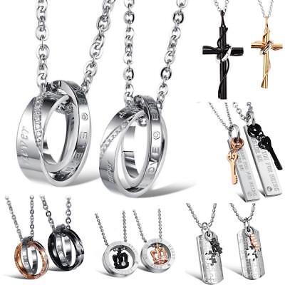 2x pareja de acero inoxidable cadenas circonita anillo remolque pareja cadena grabado regalo
