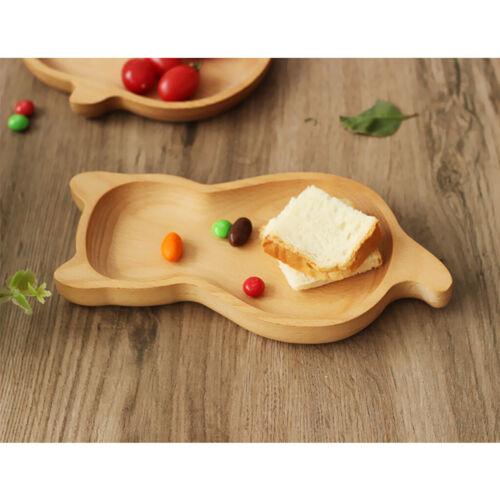 Wooden Kids Dinner Plate Fruit /& Salad Bowl Dishware 11.5x23cm Cartoon Cat
