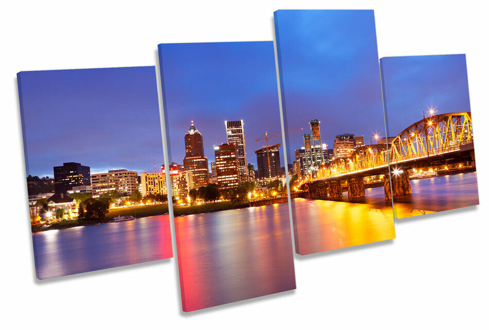 Portland Stadt Skyline Oregon MULTI CANVAS Wand Kunst Bild Drucken