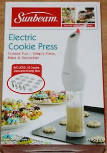 Sunbeam Electric Cookie Press w/12 Cookie Discs + 8 Icing ...