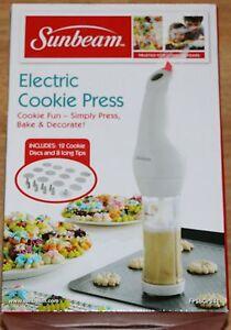 Sunbeam Electric Cookie Press w/12 Cookie Discs + 8 Icing ...